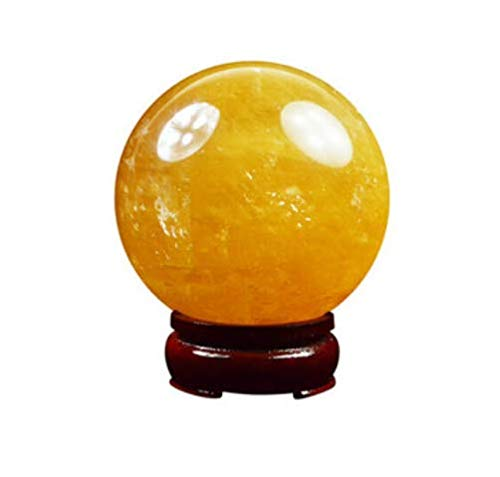 Natural Citrine Calcite Quartz Crystal Sphere Citrine Ball Healing Gemstone 40MM +Wooden Stand