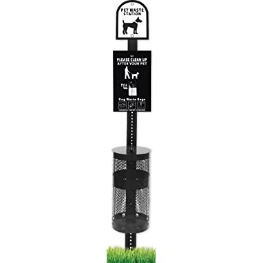 DOG WASTE STATION - SINGLE PULL SYSTEM - BLACK