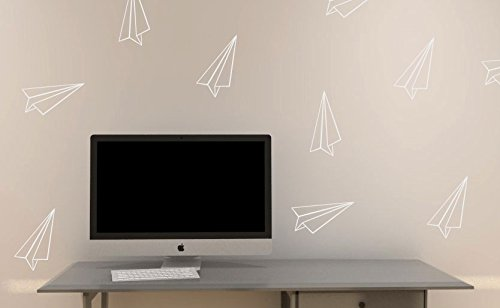 Set of (12) Paper Airplanes - Vinyl Wall Decals Removable Wall Stickers paper planes - Perfect for glass, mirrors, refrigerators, or any smooth surface. - White (Planes Airplane Paper)