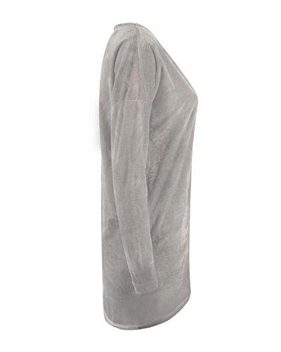 ZANZEA Mujer Jersey Holgado Con Cuello-V Casual Tejido De Punto Vestido De Manga Larga Gris