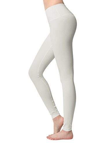 ACTICLO Women's High Waist Yoga Pants Tummy Control Running Tights Active Power Stretch Workout Leggings Apricot Large ()