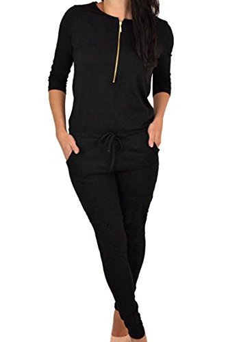 Fixmatti Teen Girl O Neck Long Sleeve Zipper Elastic Waist Leggings Black Jumpsuit Outfit (Teenager Rompers)