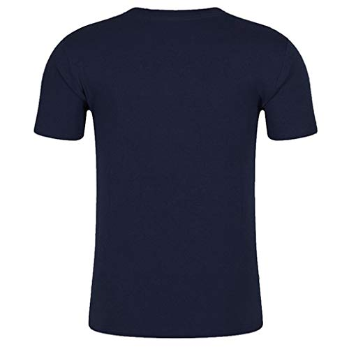 Forthery Mens Shirts Slim Fit Short Sleeve Letter Printed Muscle Tee T-shirt Tops(Navy,US Size 2XL = Tag 3XL)