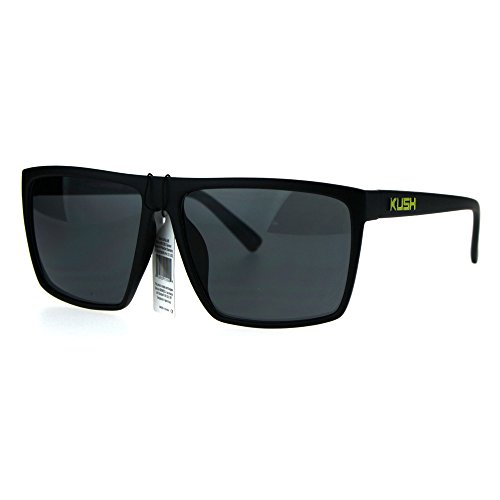 Mens Kush Large Rectangular All Black Sport Pot Head Brand Sunglasses Yellow Logo (Sun Logo Brand)