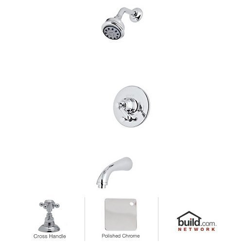 Rohl RBKIT18XM-APC Kit Country Bath Verona Pressure Balance Shower and Bath Tub Package in Polished Chrome with Cross Handle Includes B240NSH 1440/6 C1703