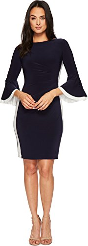 Jersey Ruffle Sleeve Dress (Lauren Ralph Lauren Women's Efraine Two-Tone Matte Jersey Dress Lighthouse Navy/Lauren 8)