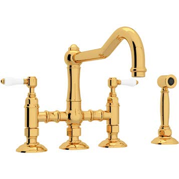 Rohl A1458LPWSIB-2 Country Kitchen Three Leg Bridge Faucet with Porcelain Levers, Inca ()