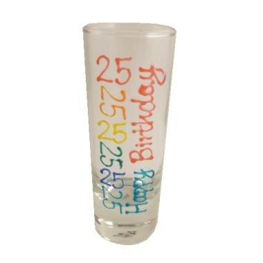25th Birthday Tall Shot Glass (Brights)