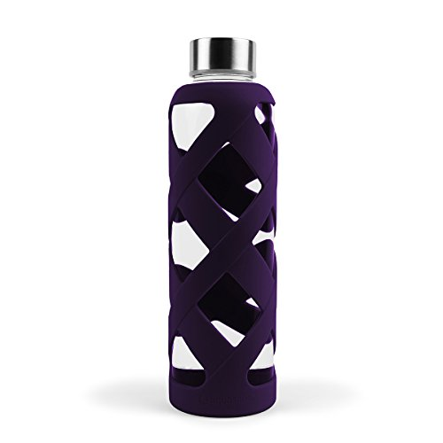 Aquasana Premium Borosilicate Glass Bottle with Designer Silicone Sleeve and BPA Free Lid with Stainless Steel Cover, 550ml, Plum ()