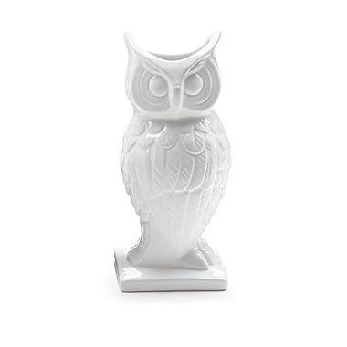 Decorative Horned Owl White Ceramic Glazed Vase