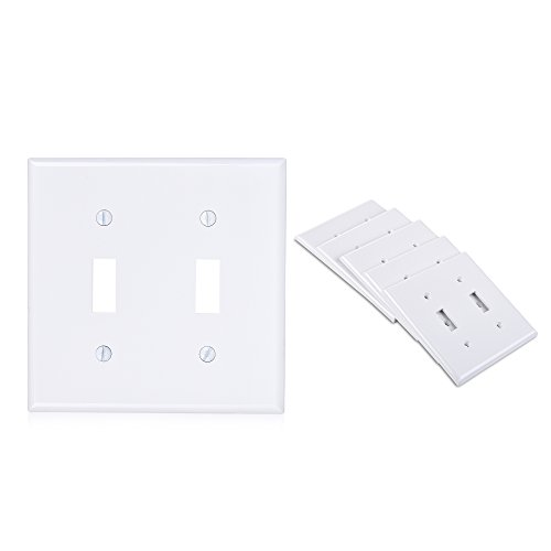 Cable Matters 5-Pack Double-Gang Toggle Switch Wall Plate (Wall Switch Cover) in White (Cover Cable Switch)
