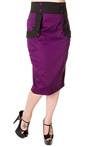Banned-Black-Purple-Retro-Pencil-Skirt