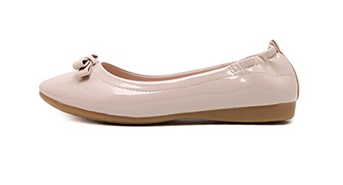 Bumud Womens Pointed Toe Ballerina Ballet Flat Shoes Solids Beige 5Utqnatax
