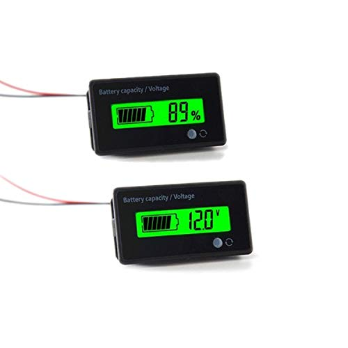 12V 24V 36V 48V Battery Meter, Battery Capacity Voltage Indicator, Lead-Acid & Lithium ion Battery Charge Discharge Monitor, for Motorcycle Car Truck Vehicle Marine Boat Golf Cart Club Car Forklift