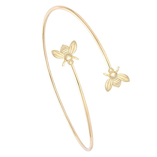 MANZHEN Adjustable Tiny Bumble Bee Queen Bee Cuff Wire Wrapped Bangle Bracelet Insect Jewelry (Gold)
