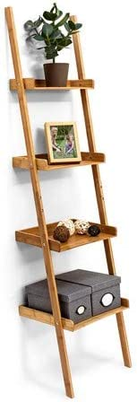 Versátil: haz sitio en casa con esta estantería estilo escalera de bambú–176x 44x 37cm, con 4n