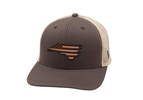 Branded Bills 'North Carolina Patriot' Leather Patch Hat Curved Trucker - OSFA/Brown/Tan (North Carolina Baseball Hats)