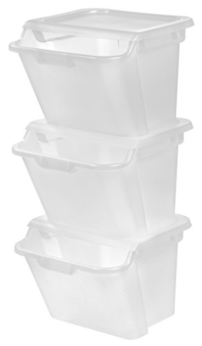 IRIS 41.5 Quart Recycle Storage Bin, 3 Pack, Clear