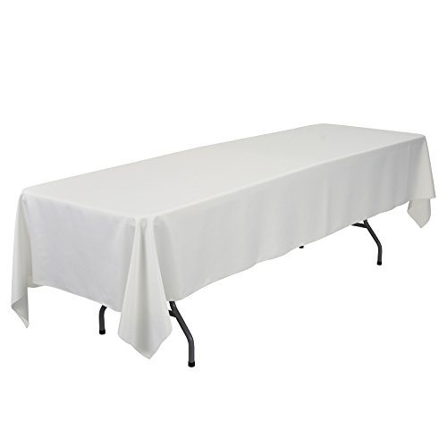 VEEYOO 60 x 126 inch Rectangular Solid Polyester Tablecloth for Wedding Restaurant Party Banquet Thanksgiving Reuseable, (100% Polyester Table)