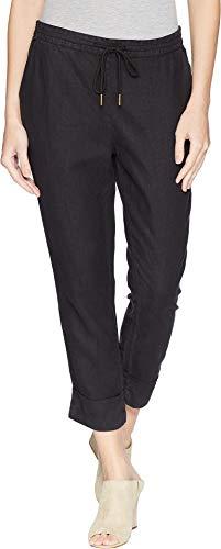 (Michael Stars Women's Woven Linen Cuffed Trouser Black Medium 23)
