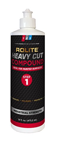 Rolite Heavy Cut Compound (16 fl. oz.) for Removing P1200 and Finer Scratches & Abrasion Marks for Automotive Clear-Coat Paints, Low Sling, No Mess