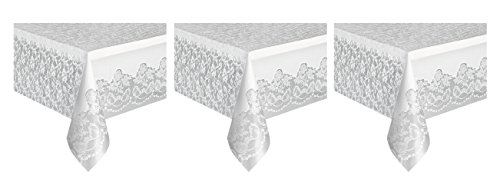 White Lace Plastic Tablecloth, 108