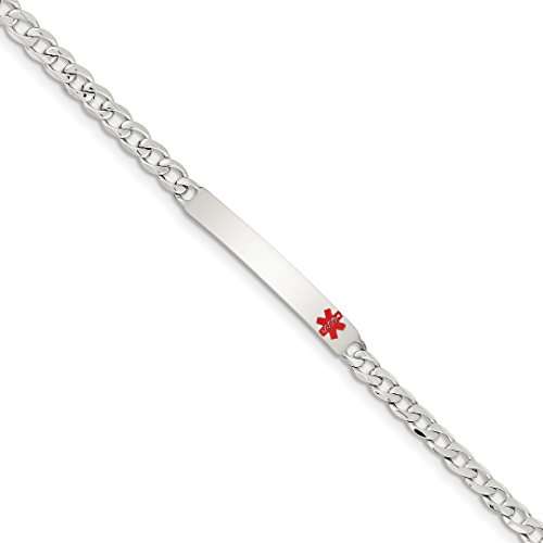 - 925 Sterling Silver Medical Curb Link Id Bracelet 7.5 Inch Fine Jewelry For Women Gift Set