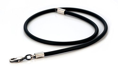 Bico 4mm (0.16 inch) Black Rubber Necklace 20 inch Long (CL5 20in) Tribal Skate Jewelry (Necklace Rubber Pendant Cord)