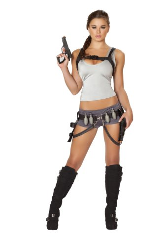 Roma Costume Women's 5 piece Treasure Huntress, Gray, - Croft Shorts Lara