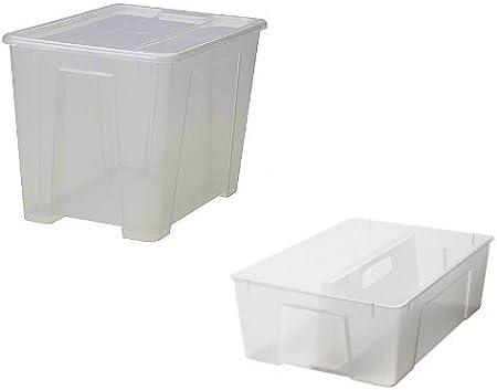 IKEA SAMLA - Caja de 22 L con tapa: Amazon.es: Bricolaje y herramientas