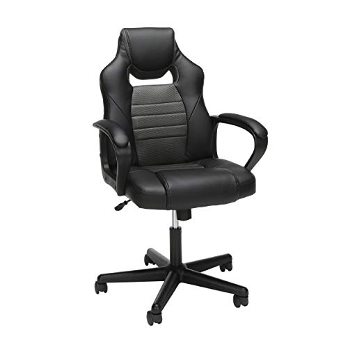 Essentials Gaming Chair - Racing Style Ergonomic Mesh and Leather Computer Chair, Gray