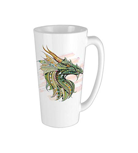 Head of Legend Dragon with Ethnic African Ornate Effects on Grunge Backdrop Mythical Theme Multicolor Ceramic Coffee Mug,Coffee Cups,White Mug,Coffee Mug,Restaurant Coffee Mugs 16oz