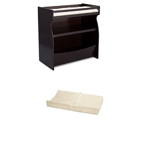 Delta Children 2-in-1 Changing Table & Storage Unit, Dark Chocolate and Simmons Kids Beautysleep Naturally Contour Pad