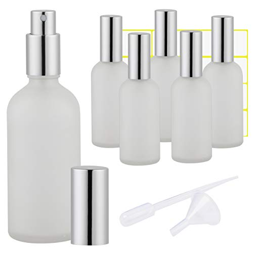 Oil Continuous Clear Spray - Frosted Clear Glass Spray Bottle 4oz for Essential Oils, Cologne, Perfume, Refillable Silver Fine Mist Sprayers(6 PACK)