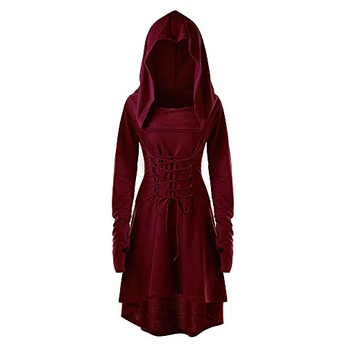 Women Hooded Sweatshirt Dress Long Sleeve Bandage Medieval Vintage Lace Up High Low Cloak Robe (2XL, Wine)