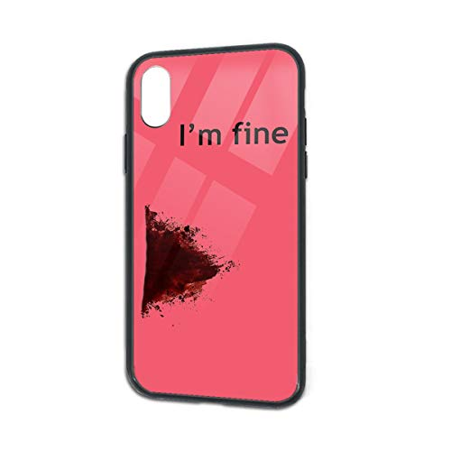 Anti-Scratch I'm Fine Graphic Zombie Slash Movie Halloween Injury Glass Back Phone Case for iPhone X iPhone Xs ()