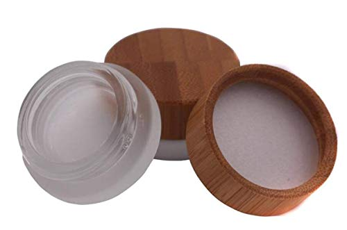 (2PCS 5ml Mini Empty Refill Frosted Glass Cosmetic Jar Pots with Environmental Bamboo Lid and PP Liner Travel Sample Packing Container For Makeup Eyeshadow Cream Lotion Contain)