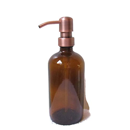 Antique Copper Soap - Craft Innovation Amber Glass Soap Dispenser 16 Ounce with Antique Copper Soap Dispenser Pump