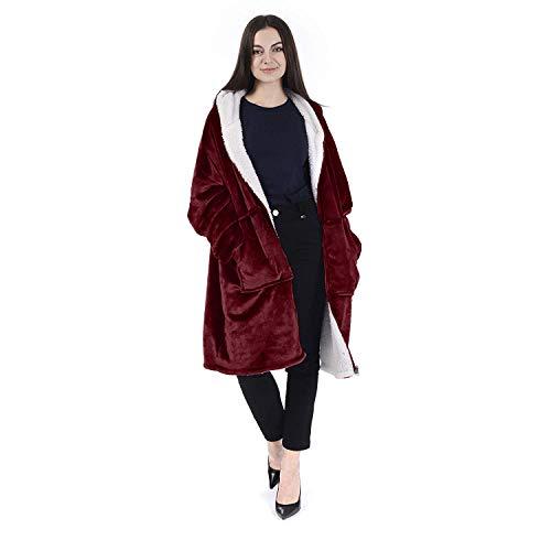 (Chemstar Reversible Comfort Hoodie Blanket Sweatshirt, Oversize Wearable Fleece Blanket Warm Coat (Wine))