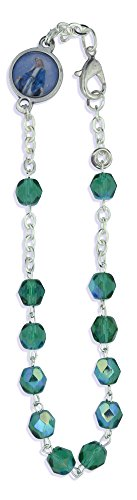 Emerald Crystal Rosary Beads (Crystal One Decade Rosary Bracelet (Emerald))