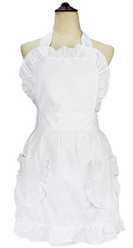 - LilMents Women's Ruffles Outline Retro Pockets Apron Kitchen Cooking Cleaning Maid Costume (White)