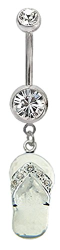 (Shalalla London Surgical Steel Belly Button Ring with Silver Charm Flipflop Clear)