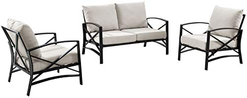 Crosley Furniture KO60011BZ-OL Kaplan 3-Piece Outdoor Seating Set (Loveseat and 2 Chairs), Oiled Bronze with Oatmeal Cushions