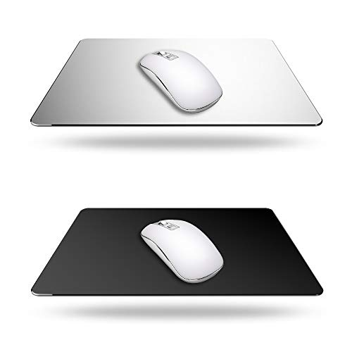 2 Pack Gaming Aluminum Mouse Pad (Silver & Black) Compatible with Magic Mouse, DaKuan Smooth Magic Ultra Thin Double Side Mouse Mat for Fast and Accurate Control (9 inch X 7.1 inch)