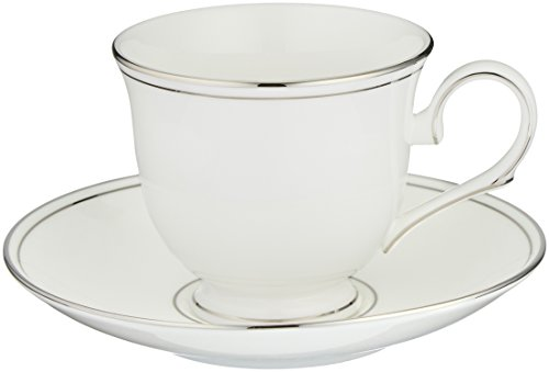 Lenox Federal Platinum Tea Cup and Saucer, White (Teacup China Platinum)