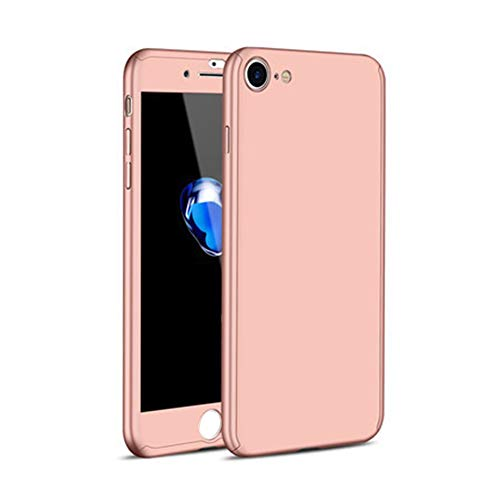 dulawei3 Anti-Scratches Full Cover Phone Case 9H Tempered Glass Screen Protector for iPhone 7 8 Plus Rose Gold for iPhone 8