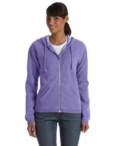 Ladies' Pigment Dyed Full-Zip Hooded Sweatshirt - Violet C1598 XL (Pigment Zip Cotton Full Dyed)