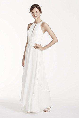 Long Chiffon Wedding Dress with Keyhole