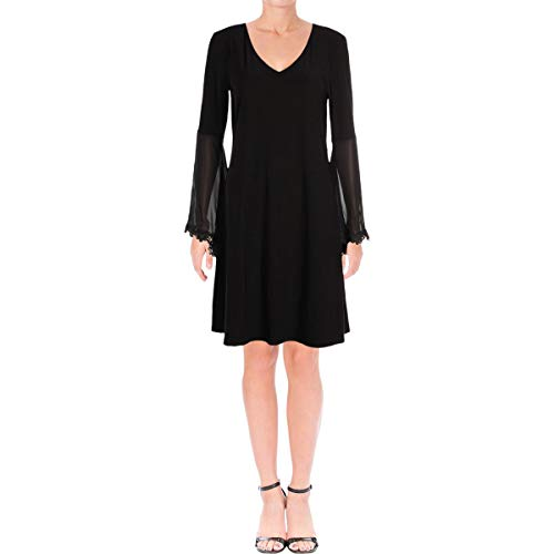 (MSK Women's V-Neck, Knit-to-Woven Bell Sleeve with Lace Trim, Black M)