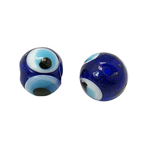 NBEADS 20 Pcs 10mm Dodger Blue Round Handmade Evil Eye Lampwork Beads Charms Loose Beads fit Bracelets Necklace Jewelry Making -